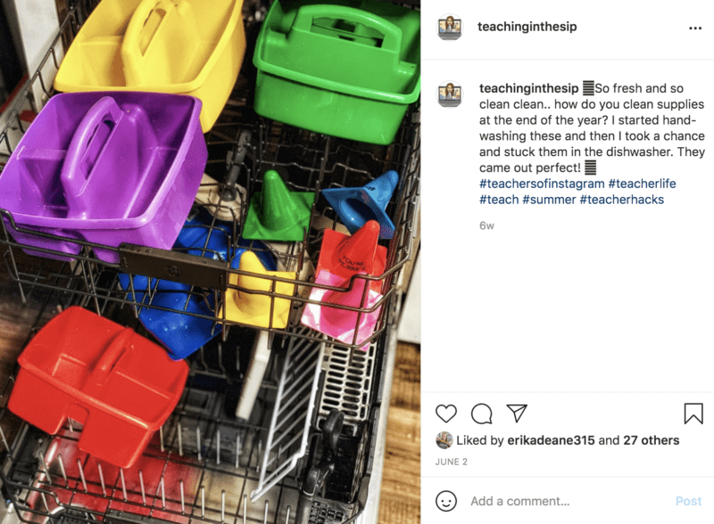 Clean classroom supplies in the dishwasher