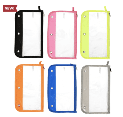 Clear 3-ring pencil cases