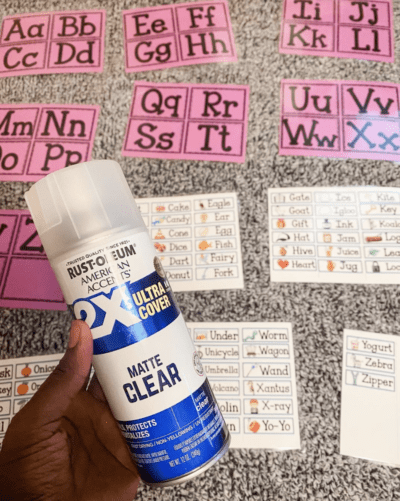 Clear spray on papers instead of laminating