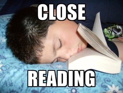 Close reading face in english teacher meme