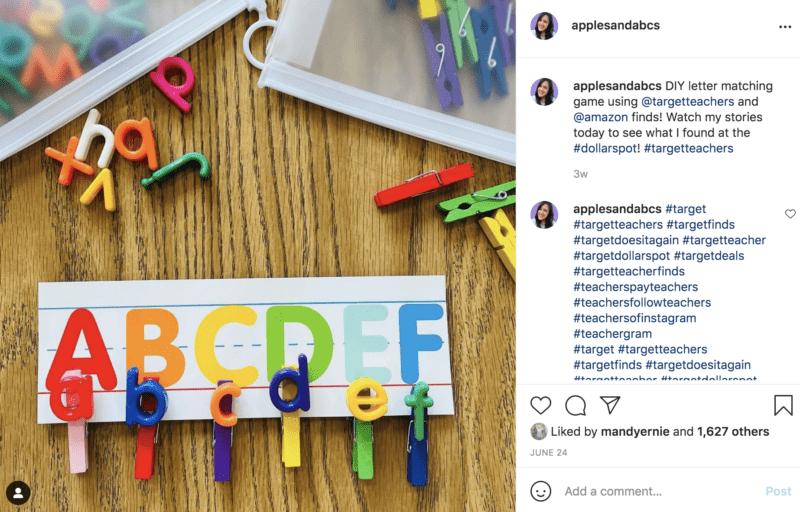 Use clothes pins with letters to teach the alphabet and spelling