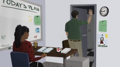Teacher at desk with co-teacher leaving early