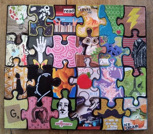 Jigsaw puzzle painted with different images and patterns on each piece (Collaborative Art Projects)