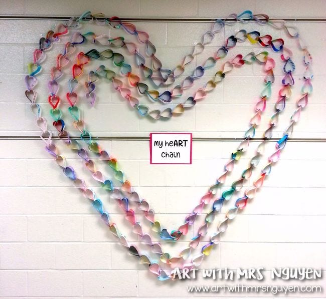 Large hearts made of paper chains (Collaborative Art)