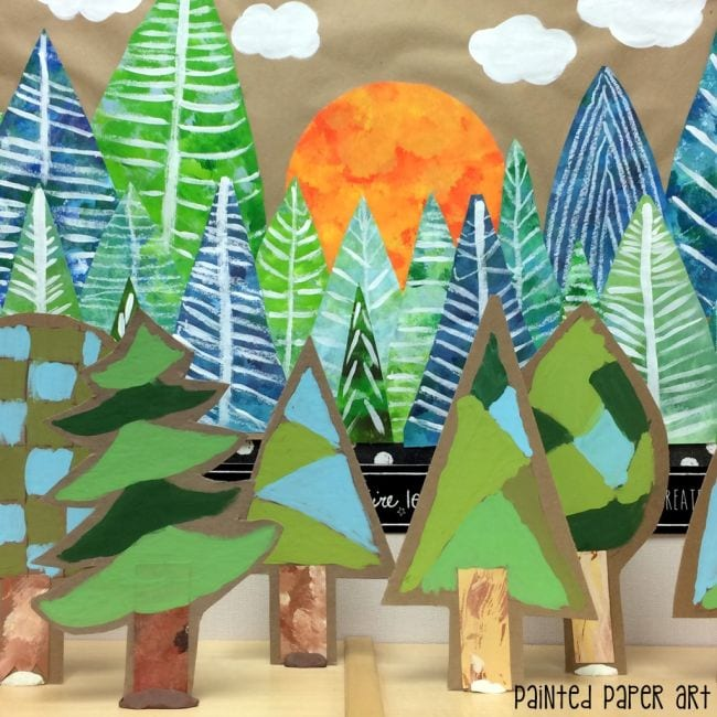 3-D paper forest of painted pine trees (Collaborative Art)