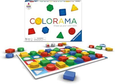 Box and sample game board for Colorama game showing multicolored squares and shape pieces
