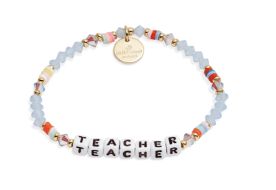 Colorful beaded bracelet that says teacher in block beads