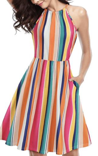 Colorful Halter dress