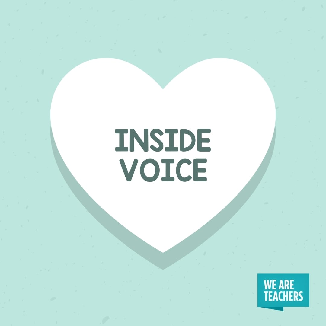 'Inside Voice' conversation heart for teachers