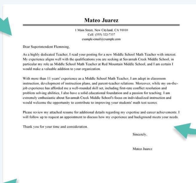 Teacher Cover Letter Sample With Experience Teacher Cover Letter