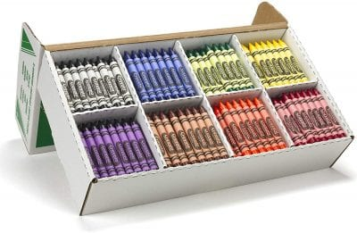 Crayola large box with colored crayons.