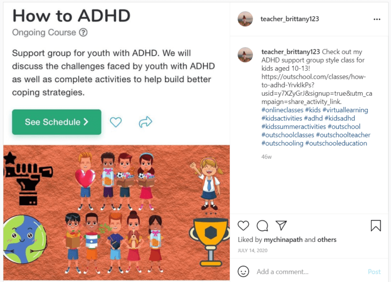 Cartoon students in Outschool support group for teens with ADHD