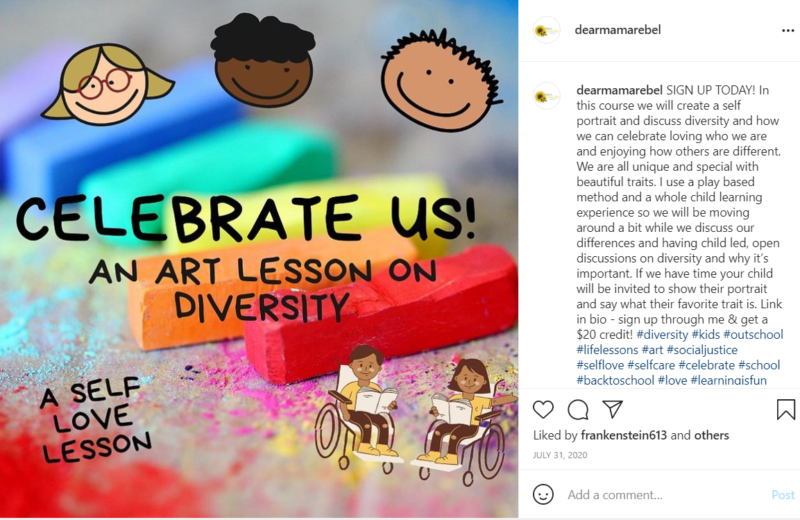 Rainbow chalk and cartoon students in Outschool class on diversity