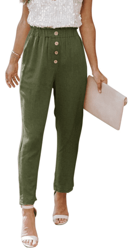 Army green cropped button pants with paper bag waist