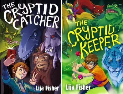 Book covers for the two books in the Cryptid Duology as an example of fantasy books for kids