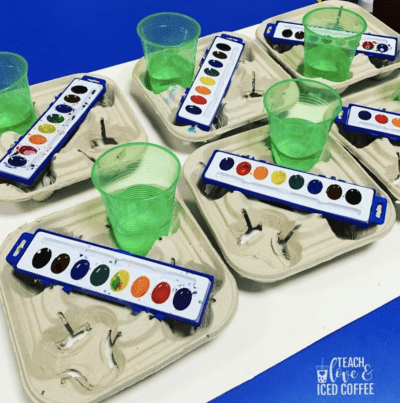 Use cup holders for watercolor stations