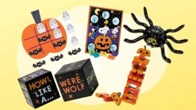 Collage of Halloween decorations and activities