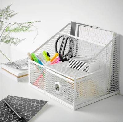 White desk organizer with compartments