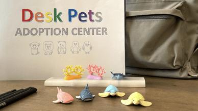 Desk pets arranged on desk