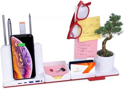 Desk organizer with iPhone, glasses, sticky notes and miscellaneous desk objects.