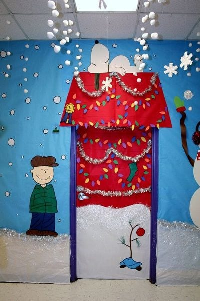 9. A Nod to Snoopy - Amazing Classroom Doors For Winter And The Holidays