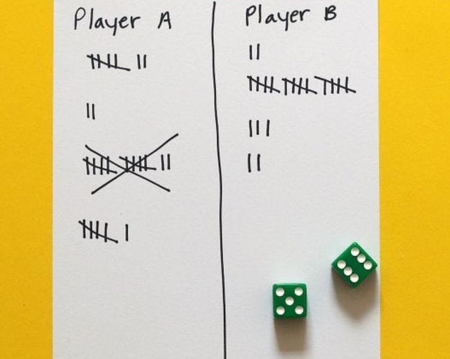 Tally sheet with two columns for player A and player B