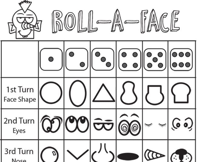 Roll-a-Face dice game with different face shapes, eyes, noses, etc. indicated by dice roll