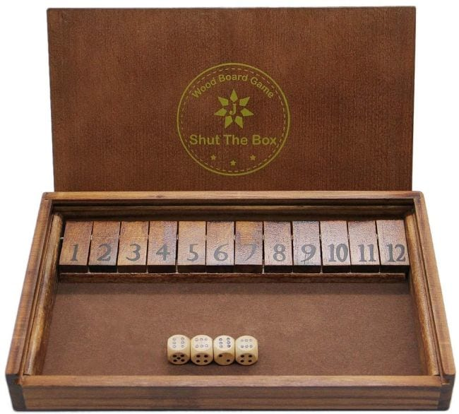 Wooden Shut the Box dice game with 12 numbered tiles (Dice Games)