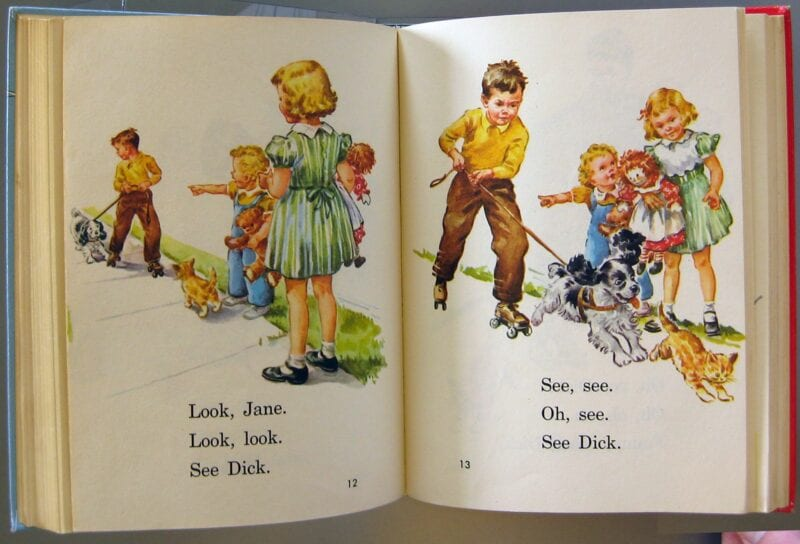 The inside of a Dick and Jane book -- teaching a long time