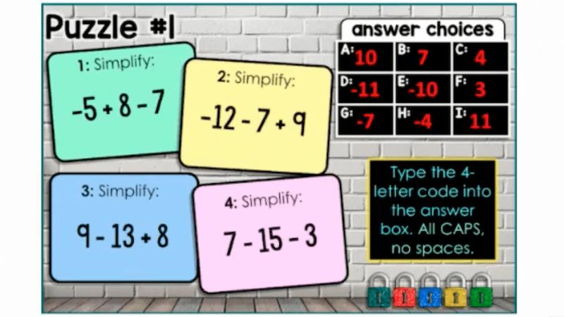 Digital Escape Room for Math on TPT