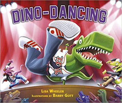 Book cover for Dino-Dancing as an example of dinosaur books for kids