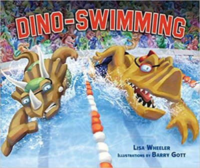Book cover for Dino-Swimming as an example of dinosaur books for kids