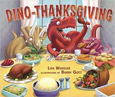 Book cover for Dino Thanksgiving as an example of dinosaur books for kids