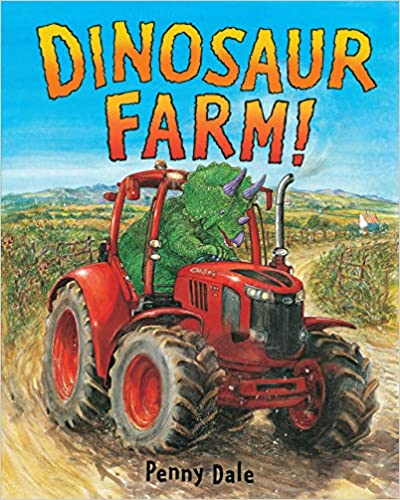 Book cover for Dinosaur Farm as an example of dinosaur books for kids