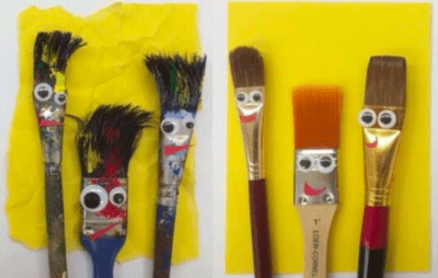 Dirty and clean paint brushes