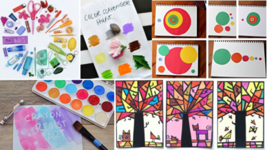 Collage of art projects that are perfect for distance learning