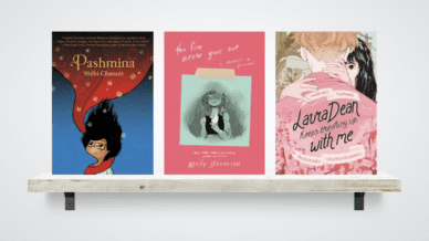 Collage of three diverse middle school graphic novels on a shelf