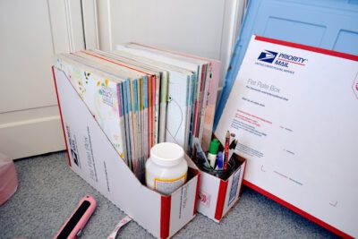 DIY magazine or book holder from post office boxes