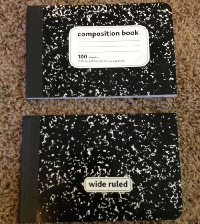 Composition notebook cut in half horizontally to create two notebooks (Dollar Store Hacks)