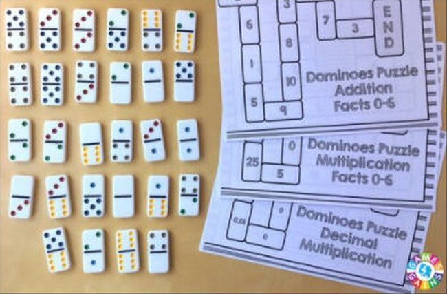 Dominos and a set of printable worksheets
