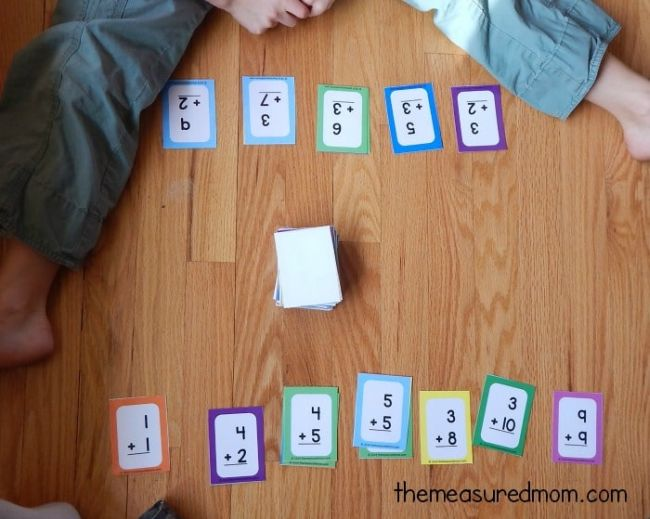 Student with a row of flashcards