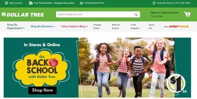 Dollar Tree Homepage screenshot
