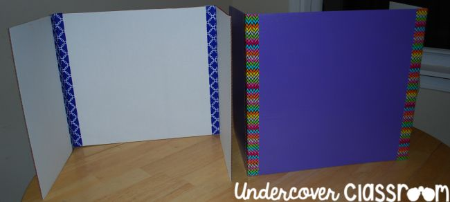 Tri-fold boards with colored duct tape decoration