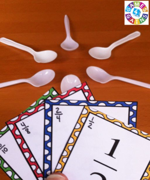 Fraction cards and plastic spoons