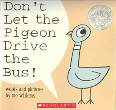 Book cover for Don't Let the Pigeon Drive the Bus! as an example of opinion writing mentor texts