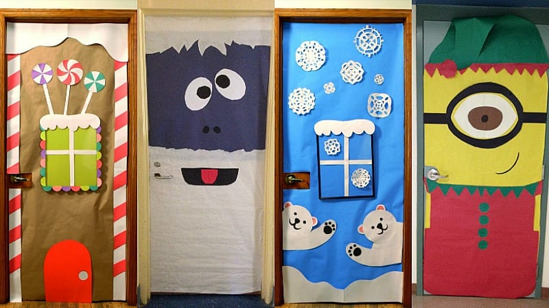 Amazing classroom doors for winter and the holidays for Addobbi finestre natale scuola infanzia