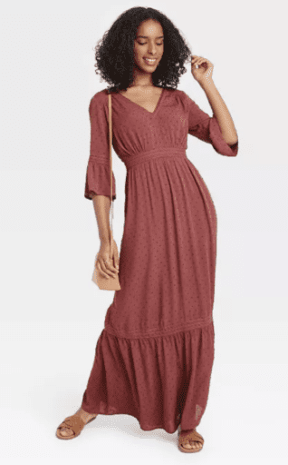 dotted maxi dress in burgundy