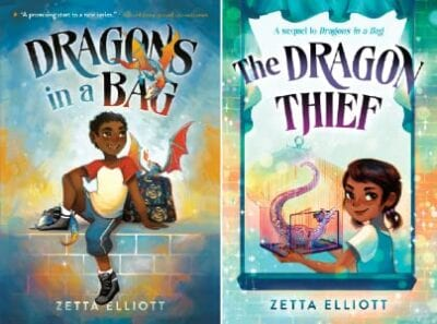 Book covers for two Dragons in a Bag series books as an example of fantasy books for kids
