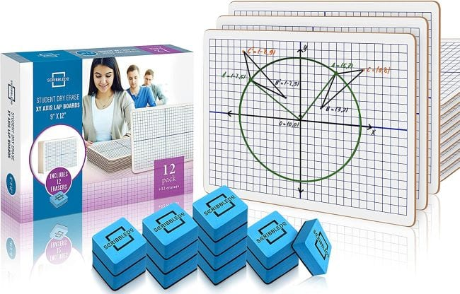 Scribbledo dry erase lapboards with XY axis graph and erasers