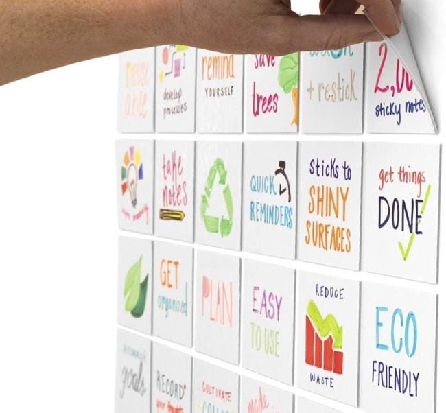 Dry erase sticky notes with various messages written on each